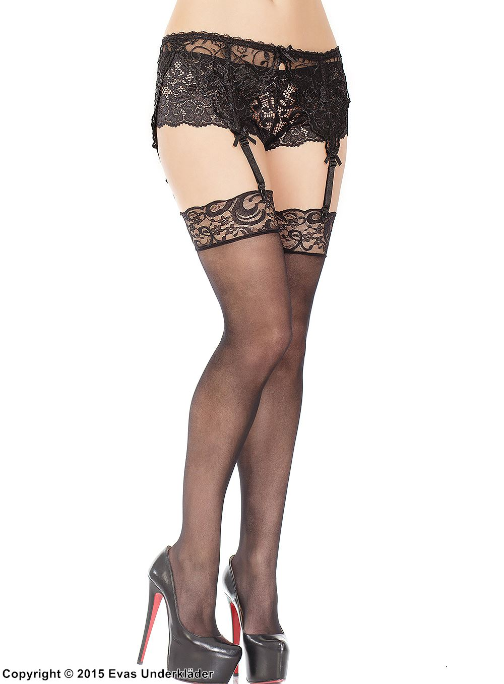 Thigh high stockings, lace edge, elegant design